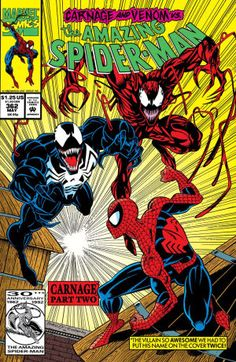 Amazing Spider-Man, Vol. 1 (Carnage: Part First Printing Cover Art by Mark Bagley & Randy Emberlin May; Marvel Dc Comics, Comics Spiderman, Marvel Comic Books, Comic Books Art, Batman, Superman, Venom Comics, Amazing Spiderman, Amazing Spider Man Comic