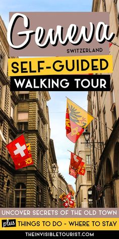 Thinking of spending one day in Geneva, or even two? This self-guided walking tour of Geneva Switzerland has you covered! Get beneath the surface of your Geneva itinerary and discover the many things to do in Geneva. There is much more than meets the eye in Geneva Old Town. This Geneva city guide also includes day trips from Geneva if you have extra time to make the most of your visit! | The Invisible Tourist Road Trip Europe, Europe Travel Guide, Europe Destinations, Spain Travel, Italy Travel, Travel Guides, Switzerland Itinerary, Geneva Switzerland, European Travel Tips