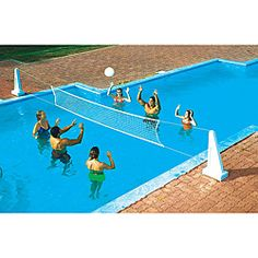 Pool Jam In-ground Volleyball/Basketball Combo combines two favorite pool games: volleyball and basketball. Both games feature Hardbody stands that will withstand the rigors of pool fun. The set inclu Swimming Pool Games, Cool Swimming Pools, Cool Pools, Pool Fun, Awesome Pools, Swiming Pool, Water Volleyball, Glass Pool Fencing, Sport Pool
