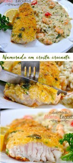 Namorado em crosta crocante, file de peixe grelhado com crosta crocante temperada de farinha panko. Crocante, macio e suculento