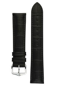 Hirsch DUKE Alligator Embossed Leather Watch Strap in BLACK
