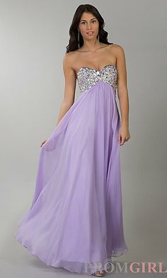 Floor Length Empire Waist Dress at PromGirl.com