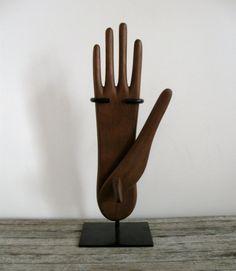 unusual articulated wooden glove mold form stretcher folk art wood reversible modern hand carved