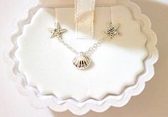 Childrens 925 Sterling Silver Clam Necklace and Starfish Stud Earrings Set Includes Clam Gift Box by BUNCHABEADS on Etsy https://www.etsy.com/listing/503479108/childrens-925-sterling-silver-clam