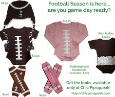 Chic Pipsqueak's Baby Football Onesies, Football Leg Warmers and Football Hat!