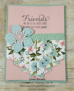 Pleated Card  Linda Bauwin – CARD-iologist Helping you create cards from  the heart. Check out my blog www.stampingwithlinda.com, Pinterest Boards and of course YouTube Channel #creativefolds, #cardsfolds