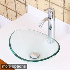 Elite 1418+882002 Unique Oval Transparent Tempered Glass Bathroom Vessel Sink with Faucet