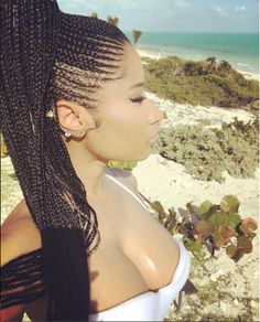 Nicki Minaj Rocking Some Cornrows On Vacay [Pics] - Black Hair Information