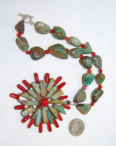 Vintage Sterling Silver Turquoise Red Coral Necklace HUGE Modern Artist Statement Pendant Starburst