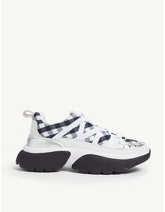 b6ffbb63206129 Maje W20 vichy print leather trainers. Baskets En Cuir, Chaussures ...