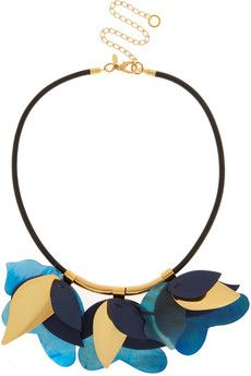 The petals on Marni's necklace have been carved from blue horn and gold-tone brass. Hanging playfully from an adjustable leather cord, they'll bring a pop of three-dimensional color to your outfit.