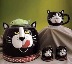 *CAT ~ cookie jar, from Eldridge Cat Cookie Jar, Cookie Jars, Kit Kat Cookies, Kinds Of Cookies, Vintage Cookies, Homemade Cookies, Crazy Cats, Dog Treats, Vintage Designs