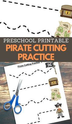 Let your child cut the lines to reach the pirate map, treasure, and more with this Cutting Practice worksheets from my Pirate Printables collection. Pirate Crafts, Pirate Preschool, Pirate Activities, Fine Motor Activities For Kids, First Day Of School Activities, Educational Games For Kids, Toddler Activities, Preschool Cutting Practice, Cutting Activities