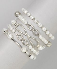 White & Silver Infinity Stretch Bracelet Set | Daily deals for moms, babies and kids