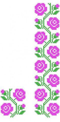 Simple Cross Stitch, Cross Stitch Rose, Cross Stitch Borders, Cross Stitch Flowers, Cross Stitch Designs, Cross Stitching, Cross Stitch Patterns, Basic Embroidery Stitches, Flower Embroidery Designs