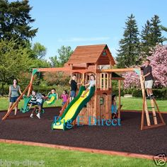 Outdoor Wooden Swing Set Toy Playhouse PlaySet Slide Ladders Glider Table Bench on eBay!