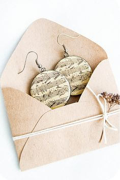 Round musical earrings  Sheet music jewelry by Lepun on Etsy, $17.00