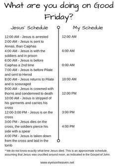 """""""Good Friday Activities: Good Friday Schedule – Jesus' and Mine"""" by Ellen Mady"""