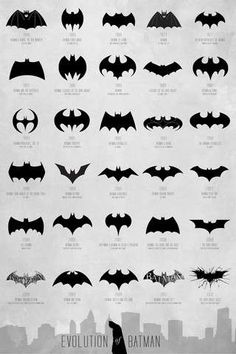 Hero Icon Transformation Charts : Batman Logo Evolution