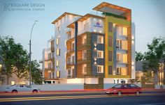 Apartments designed at T.nagar by K Square Architects & Interior , Apartment Design, Contemporary Architecture, Apartments, Architects, Multi Story Building, Mansions, House Styles, Interior, Home Decor