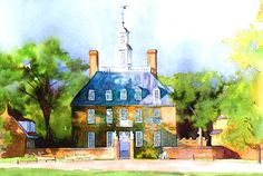 Colonial Williamsburg Governors Palace 11x14 (mat size) Print from my original watercolor. The color palette of this sunlit image is oranges, blues,