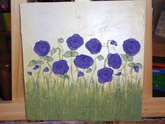 Sweet canvas acrylic painting with purple chiffon flowers