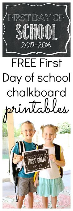 "First Day of School Printables - one for every grade level! As teachers we can even use these in our classrooms to do a ""first and last day"" comparison for parents!"