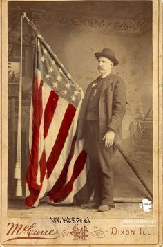 William Steel was a young soldier of the 34th Illinois Infantry Co. F when he was shot 7 times at the Battle of Stone River, Dec. 31, 1862. All color guards and bearers of the flag were killed or wounded. Photographed here years later, three bullets remained in his body the rest of Steel's life.