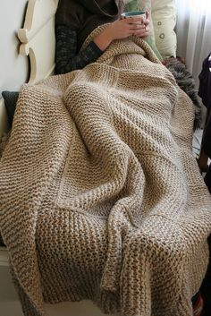 """The name of this pattern is """"Knitted Garter Stitch Blanket in Sheepsdown"""", for you Ravelers out there. Knitted Afghans, Knitted Blankets, Knitted Rug, Warm Blankets, Knitting Projects, Crochet Projects, Knitting Patterns, Crochet Patterns, Blanket Patterns"""