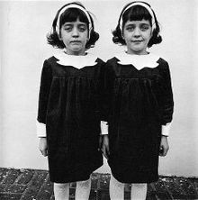 """Diane Arbus - """"Identical Twins, Roselle, New Jersey"""" Arbus is known for her square format photographs that made her known as """"the photographer of freaks"""""""