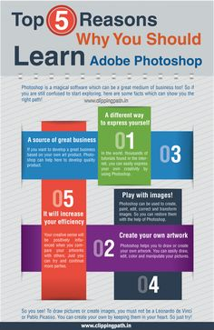 Top 5 Reason Why You Should Learn Adobe Photoshop Infographic Creative Infographic, Infographics, Photoshop Illustrator, Adobe Photoshop, Designers, Knowledge, Facts, Tools, Learning