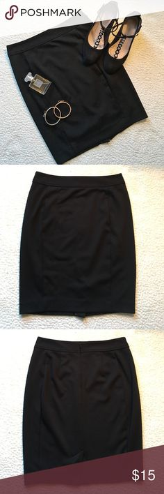 🆕 LOFT black pencil skirt Simple black pencil skirt from LOFT. Slit in back. Zipper back. Hook and eye closure is bent from getting caught in the washer (shown in photo #5). Material is 74% polyester, 22% rayon, and 4% spandex. Measures 18 inches in length. Petite size XS. ❗️Sorry, I do not trade.❗️ LOFT Skirts Pencil