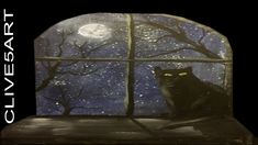 Cat in Moonlight , Acrylic painting for beginners,Acrylic painting ,cliv...