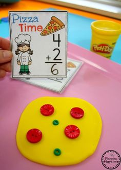 Playdoh Pizza Addition Game for Kindergarten.
