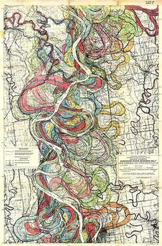 Courses of the Mississippi River over the years.