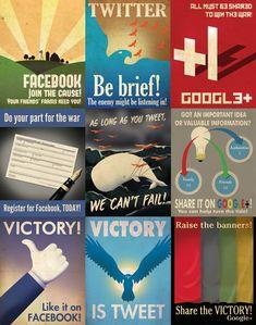 """mock-vintage propaganda posters for social media... the """"victory is tweet"""" is my favorite"""