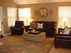 Sherwin Williams Latte, yep.  with the white ceiling and leather couches to boot