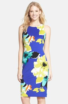 Vince Camuto Floral Print Scuba Sheath Dress (Regular & Petite) available at #Nordstrom