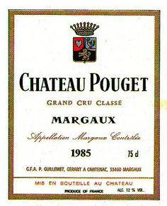 Chateau Pouget Margaux 1985 Wine Label