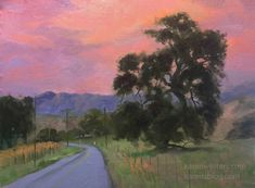 Los Olivos Twilight, with oak tree California impressionist oil painting by Karen Winters Impressionist Landscape, Landscape Paintings, Oil Paintings, Painting Art, Bob Ross Paintings, Western Landscape, California Art, Oak Tree, Fantastic Art