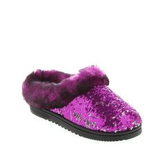 Foot Petals Sequin Covered Clog Slipper With Faux Fur