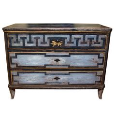 Large early 19th century  Continental Painted  Chest of Drawers | 1stdibs.com