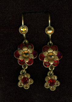 Michal Negrin Earrings Red and Gold Swarovski Crystals