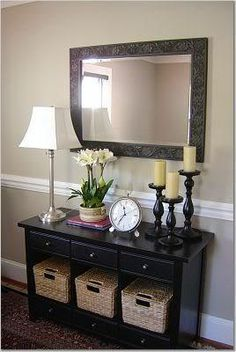 Foyer decor with entryway console table and large silver - Table vitroceramique 3 foyers ...