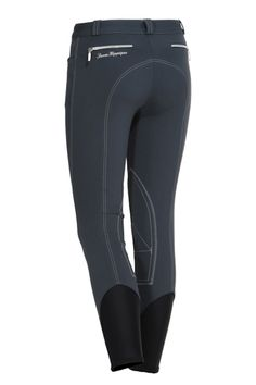 The Lisbona breeches are from Sarm Hippique's latest collection. These stylish breeches are ideal for any rider looking to bring a sophisticated edge to the schooling ring or some pizzazz to the jumper ring. Lisbona breeches have classic front pockets with a zipper mid-rise fly and button closure. They are accentuated by colored seams, which outline the rear horizontal zip pockets, Euro seat and knee patches.  http://www.galleriamorusso.com/product/sarm-hippique-lisbona-breeches/