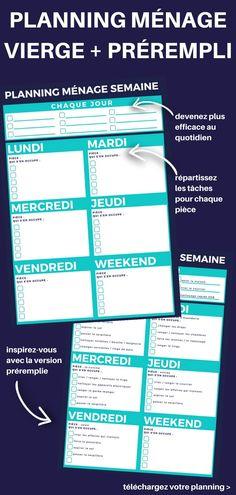 Planning de Ménage Vierge à Imprimer (TÉLÉCHARGEMENT GRATUIT) + la version préremplie pour vous inspirer.