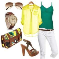Elegant look for daytime.Especially yellow shirt looks amazing with the white capri.