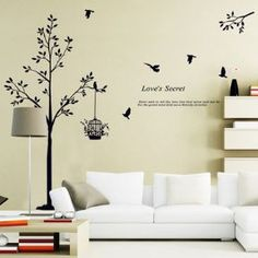 Wall Stickers Mural Decal Paper Art Decoration Love Secret birdcage Tree Family