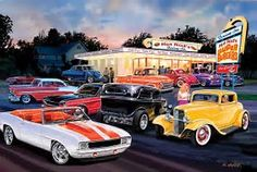 Image result for pretty babes and car art-paintings