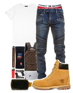 A menswear look from April 2017 featuring mens biker jeans, timberland boots and leather rucksack. Browse and shop related looks. Teen Boy Fashion, Big Men Fashion, Tomboy Fashion, Dope Fashion, Fashion Vest, Swag Fashion, Fashion Menswear, Fashion Ideas, Dope Outfits For Guys